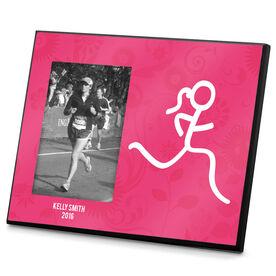 Running Photo Frame Floral Runner Girl Stick Figure