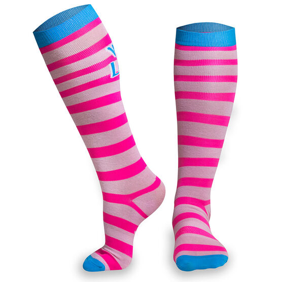 Woven Yakety Yak! Knee High Socks - Run Now Wine Later (Pink Stripes/Teal)