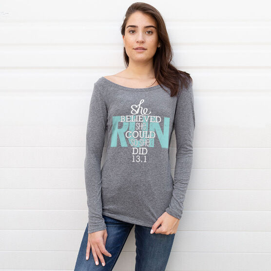 Women's Scoop Neck Long Sleeve Runners Tee She Believed She Could So She Did 13.1