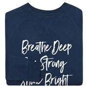 Running Raglan Crew Neck Sweatshirt - Breathe Deep Run Strong