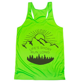 Women's Racerback Performance Tank Top - Life's Short Run Long (Mountains)