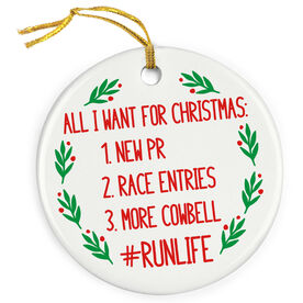 Running Porcelain Ornament - All I Want For Christmas #runlife