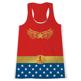 Women's Performance Tank Top - Runner Woman With Stars