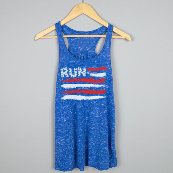 Flowy Racerback Tank Top - Run for the Red White and Blue
