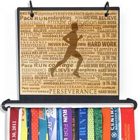 Engraved Bamboo BibFOLIO Plus Race Bib and Medal Display Running Inspiration Male