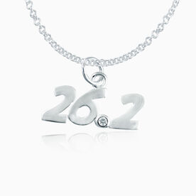 Sterling Silver 26.2 Marathon Necklace with Cubic Zirconia Stone
