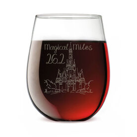 Running Stemless Wine Glass - Magical Miles Sketch
