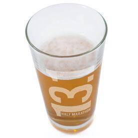 Running 16 oz Beer Pint Glass 13.1 Half Marathon Vertical