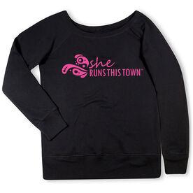 Running Fleece Wide Neck Sweatshirt - She Runs This Town Logo (Pink)