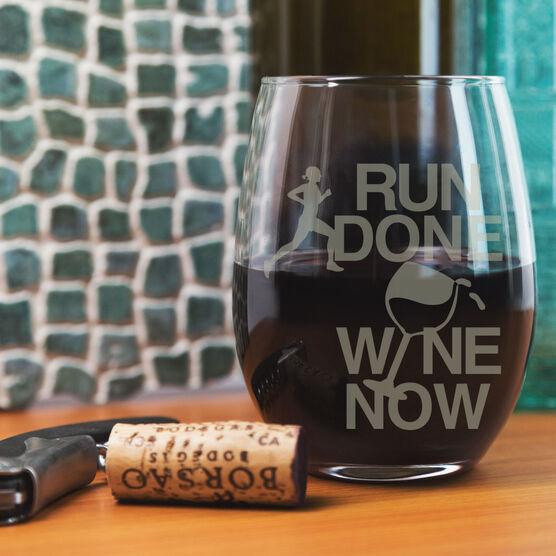 Running Stemless Wine Glass Run Done Wine Now Female