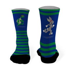 Running Printed Mid Calf Socks Tortoise and Hare