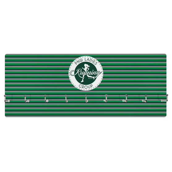 Running Hooked on Medals Hanger - Pacific Northwest Ladies Running Group Logo with Stripes
