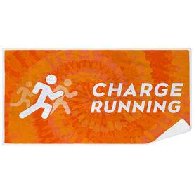 Premium Beach Towel - Charge Running Logo Orange Tie-Dye