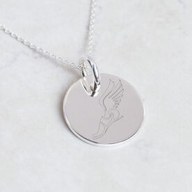 Sterling Silver Winged Foot Engraved 20mm Pendant Necklace