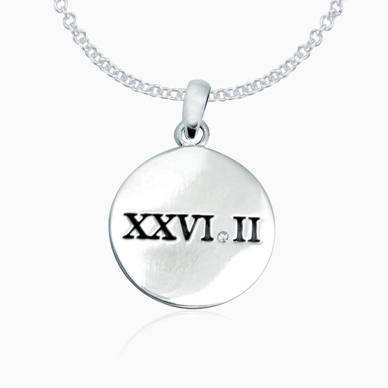 Sterling Silver Roman Numeral 26.2 Marathon Disc Necklace