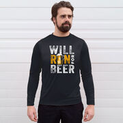 Men's Running Long Sleeve Performance Tee - Will Run For Beer