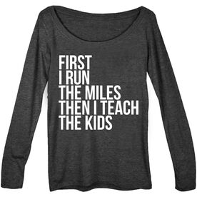 Women's Runner Scoop Neck Long Sleeve Tee - Then I Teach The Kids
