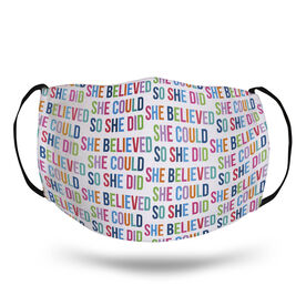 Running Face Mask - She Believed She Could (Colorful)