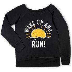 Running Fleece Wide Neck Sweatshirt - Wake Up And Run
