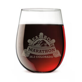 Stemless Wine Glass Steamboat Marathon Artwork 2014
