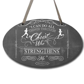 Vintage I Can Do All Things Through Christ Decorative Oval Sign