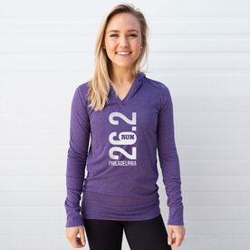 Women's Running Lightweight Performance Hoodie - Philadelphia 26.2 Vertical