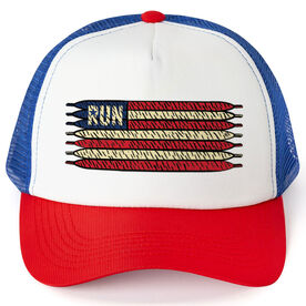 Running Trucker Hat - American Flag Laces