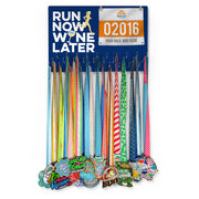 Running Large Hooked on Medals and Bib Hanger - Run Now Wine Later
