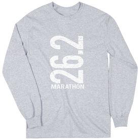 Runners Tshirt Long Sleeve 26.2 Marathon Vertical