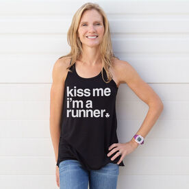 Running Flowy Racerback Tank Top - Kiss Me I am a Runner Saying