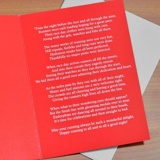 7591c327 Twas The Night Before The Race Greeting Card   Runners Greeting Cards