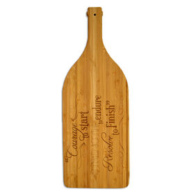 Wine Bottle Laser Engraved Bamboo Cutting Board Courage To Start (Chalkboard Style)
