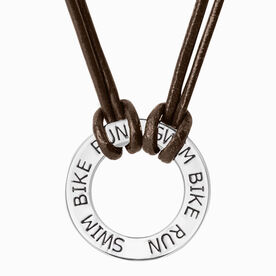 Triathlon Message Ring Cord Necklace