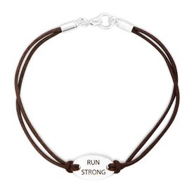 Run Strong Sterling Silver Cord Bracelet