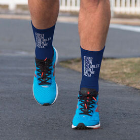 Running Printed Mid-Calf Socks - Then I Eat The Pizza