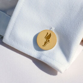 Track and Field Engraved Wood Cufflinks Winged Foot