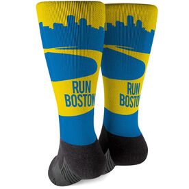 Running Printed Mid-Calf Socks - Boston Skyline