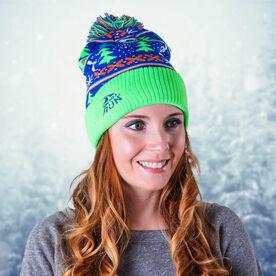 Running Knit Hat - Christmas Sweater (Neon)