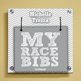 Personalized My Race Bibs with Chevron Wall BibFOLIO® Display