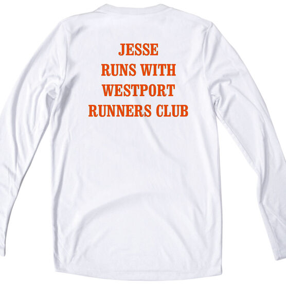 Women's Customized White Long Sleeve Tech Tee 13.1 Math Miles