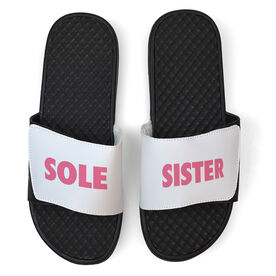 Running White Slide Sandals - Sole Sister Text
