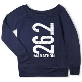 Running Fleece Wide Neck Sweatshirt - 26.2 Marathon Vertical