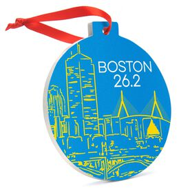 Running Round Ceramic Ornament - Boston Twenty Six Point Two