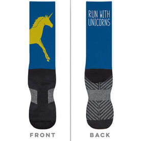 Running Printed Mid-Calf Socks - Run With Unicorns (Boston)
