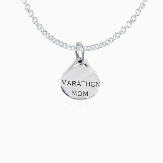 Sterling Silver Marathon Mom Oval Pendant Necklace