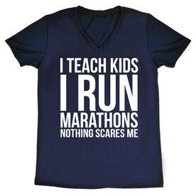Women's Running Short Sleeve Tech Tee - I Teach Kids I Run Marathons