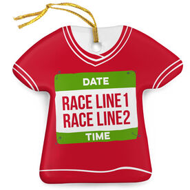Running Porcelain Ornament Custom Date, Race, Time Shirt