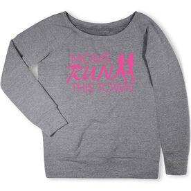 Running Fleece Wide Neck Sweatshirt - Moms Run This Town Logo (Pink)