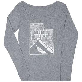 Women's Scoop Neck Long Sleeve Runners Tee Utah State Runner