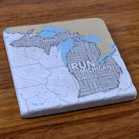 Michigan State Runner Stone Coaster